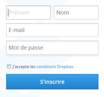 Dropbox comment ca marche - page inscription