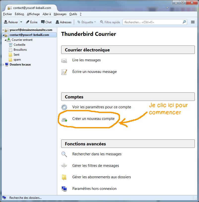 Configurer Webmail Jimdo dans Thunderbird - etape 1