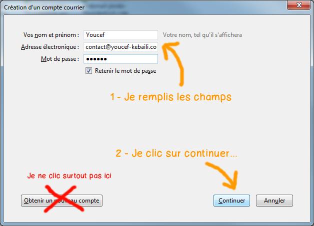 Configurer Webmail Jimdo dans Thunderbird - etape 3
