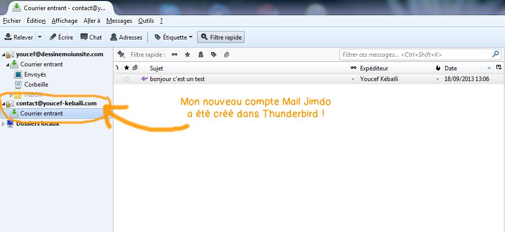 Configurer Webmail Jimdo dans Thunderbird - etape fin