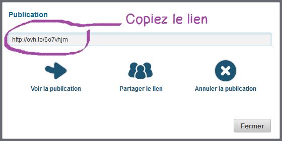 Copiez le lien de publication de fichier Hubic, comme dropbox francais