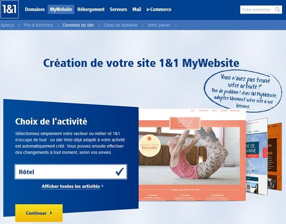 1&1 MyWebsite avis et revue complète de l'outil en ligne