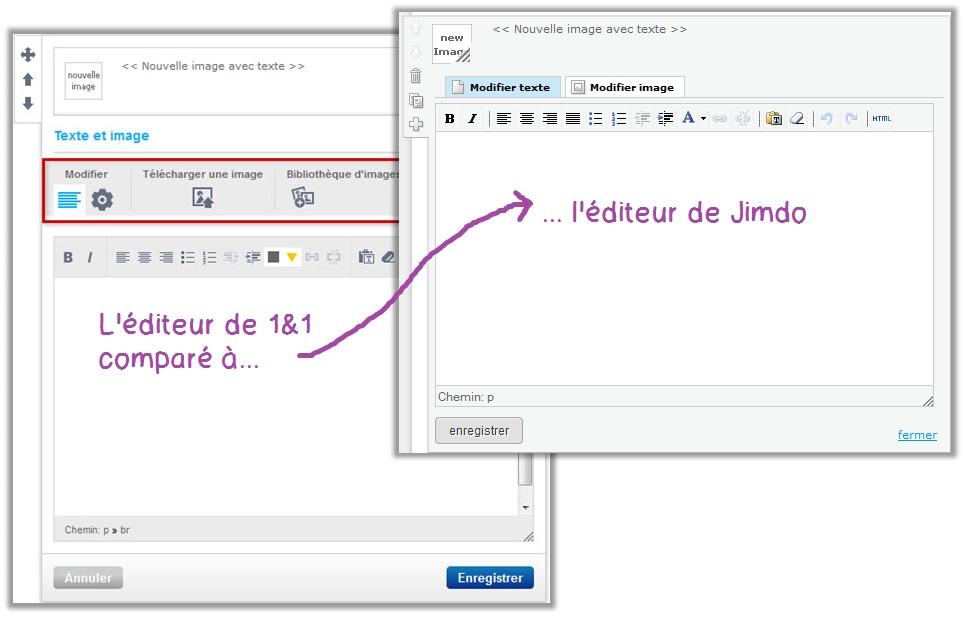 Comparaison entre 1and1 mywebsite et Jimdo