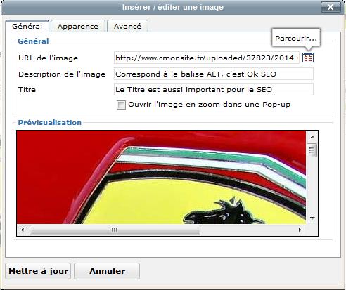 Optimisation d'une image pour le référencement d'un site CmonSite