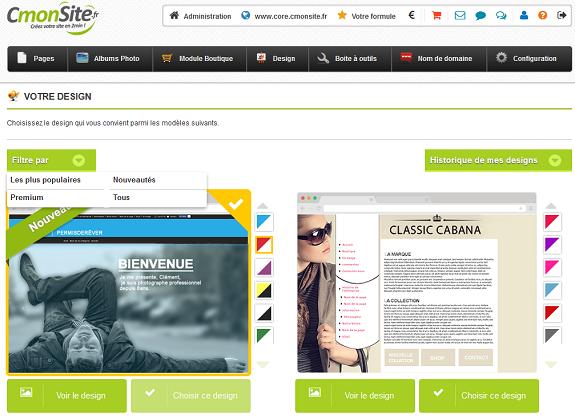 CmonSite avis sur le choix du design parmis 60 templates