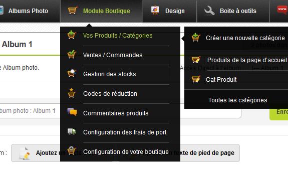 Création d'une boutique en ligne avec CmonSite, options et catégories
