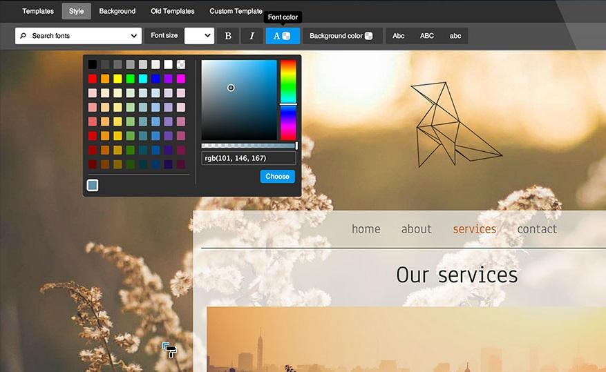 Editeur de styles jimdo personnaliser couleurs