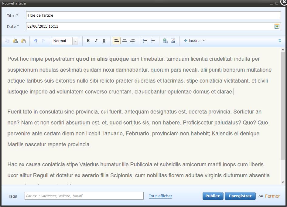 Test et avis sur Webnode publier un article de Blog