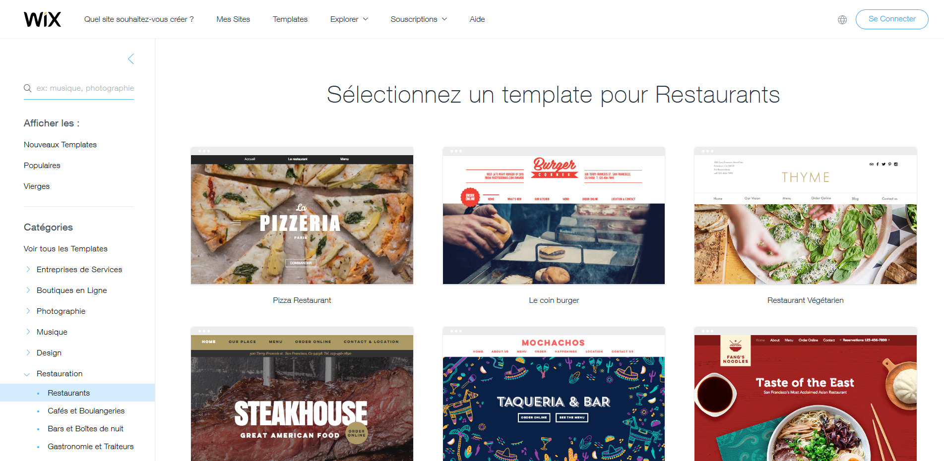 Selection template HTML Wix pour restaurant