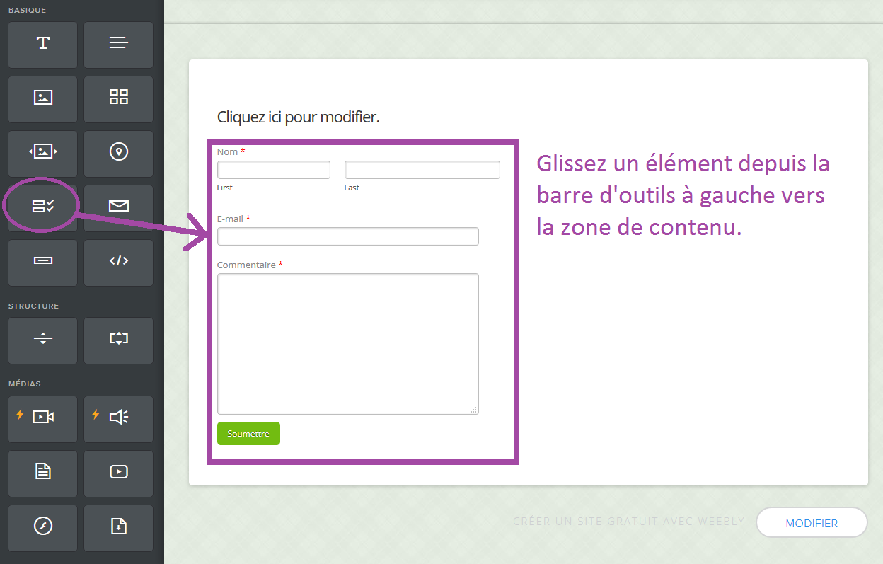 Barre d'outils Weebly drag-and-drop